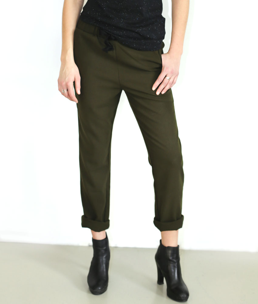 Chino Kaki Femme Pantalon Elastique Taille 8rg78wzqH