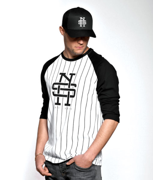 Tshirt-baseball-rayures-blanc-noir-imprimer-manches-troisquart-hommes