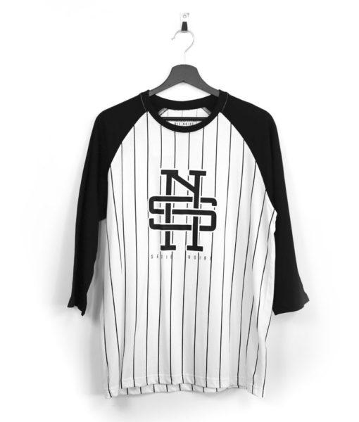 baseball-tshirt-rayures-serienoire-impression-manchestroisquart